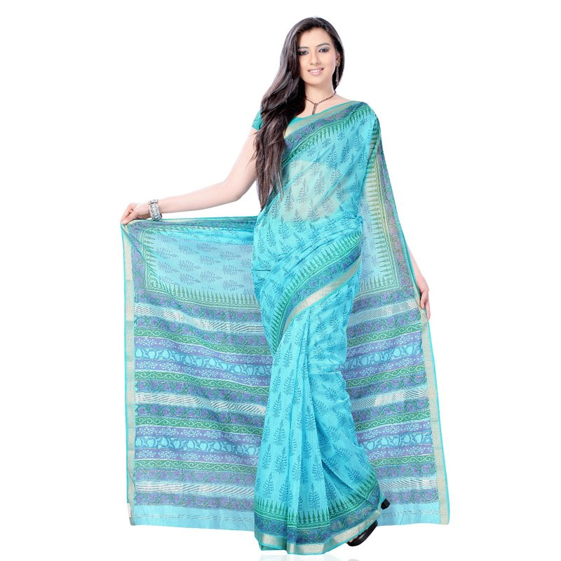 Tiffany Blue Block Printed Cotton Silk Saree-Online Shopping
