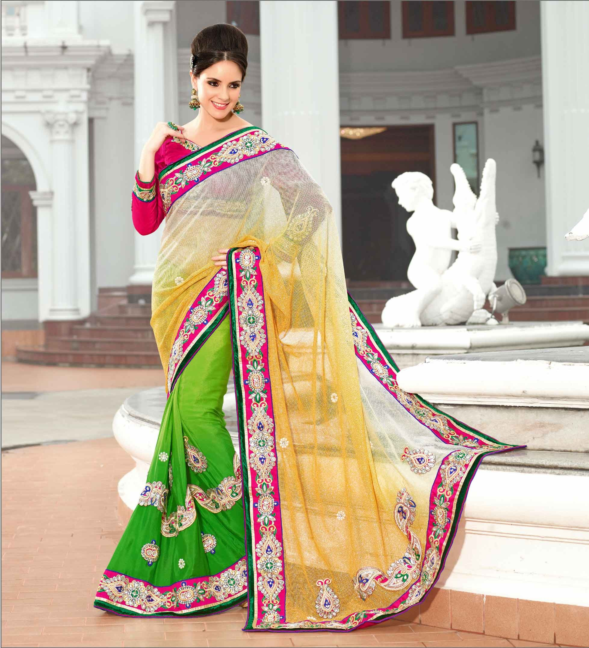 Wedding White Sarees Online: Bollywood Wedding Bridal Saree 119