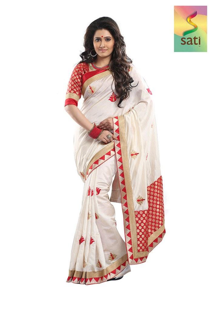 Sati Cream Art Silk Saree Designer Sarees By Sati