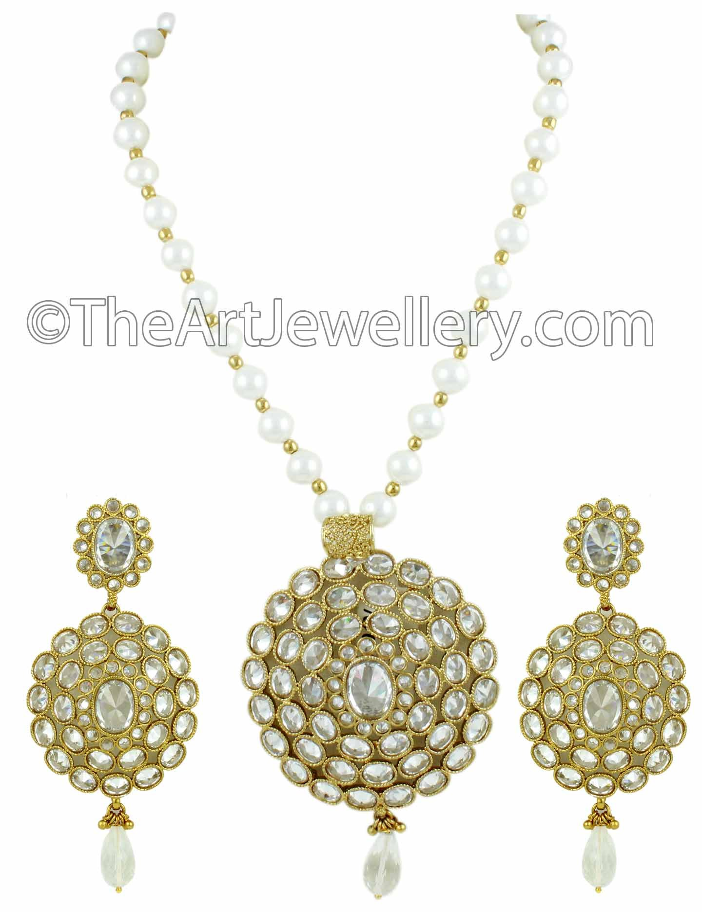 Reverse AD Pendant Set with Pearl Chain & Drops   Necklaces by The Art Jewellery available at Craftsvilla for Rs.4799