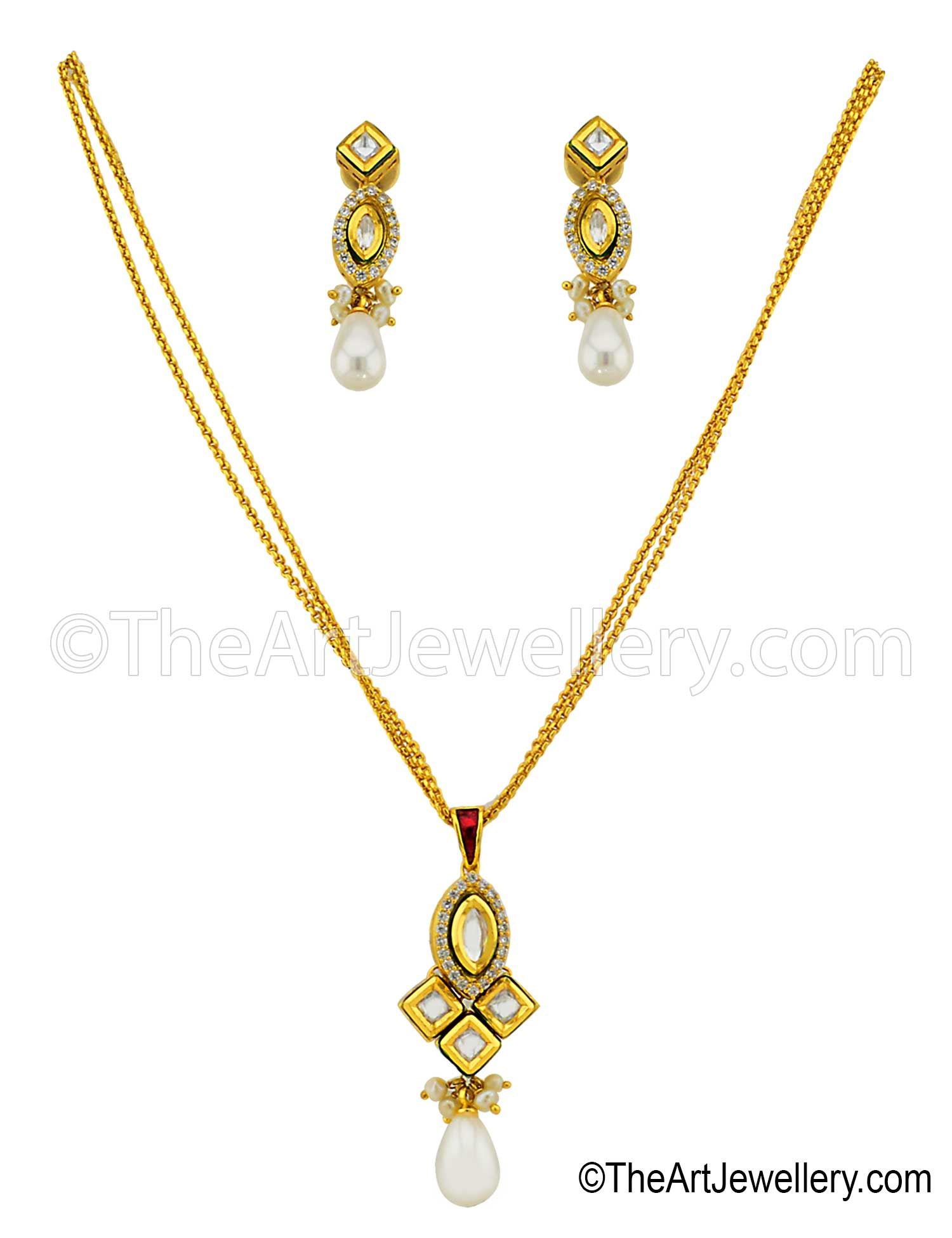 Vilandi Pendant Set with AD Fusion work, Pearl Drop pendant & Golden Chain   Necklaces by The Art Jewellery available at Craftsvilla for Rs.2999