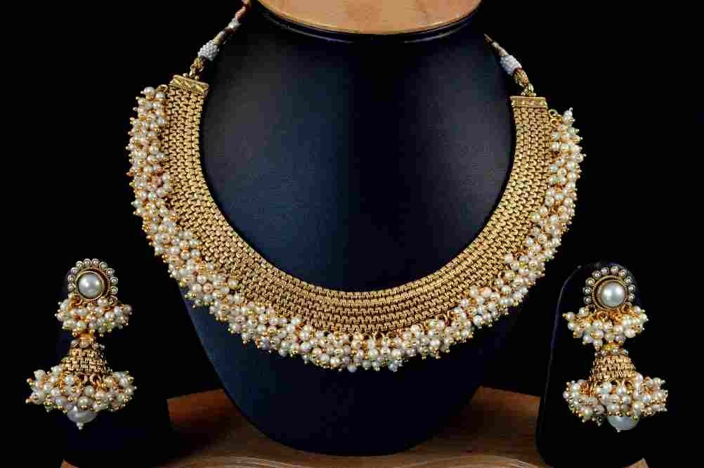 Best Suggestions for Pretty White Pearl Polki Alloy Jewel Set ...