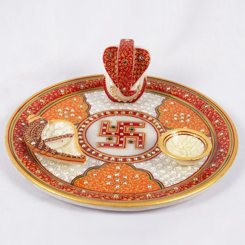 Beautiful pooja thali online shopping for Aarti thali decoration ideas