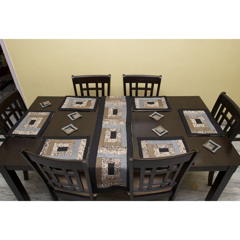 Quilted Kalamkari Table Mat And Runner Set Black Online