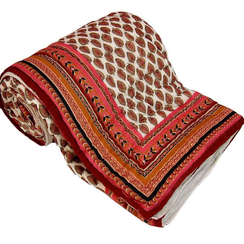 Jaipuri Gold Print Cotton Double Razai Quilt 304 Online
