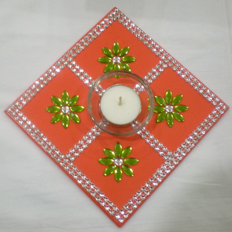 Small Square Orange Coasters With Silver Lace And 4