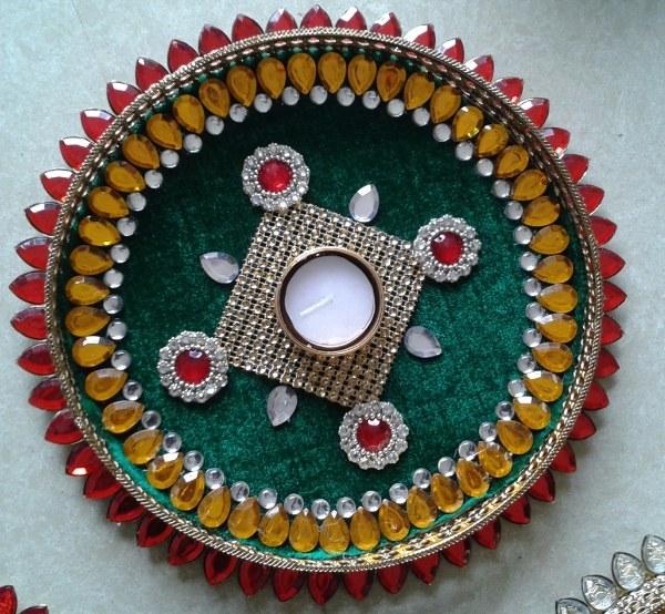 Pooja Thali Pooja Plate Aarti Thali In Green Base For