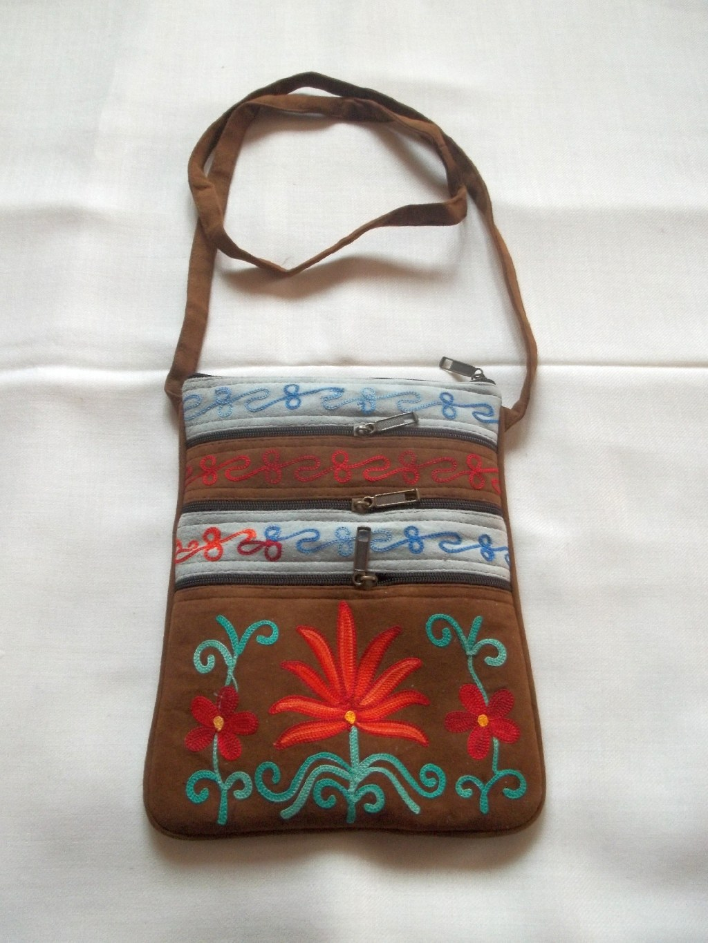 Kashmiri suede embroidered bag online shopping