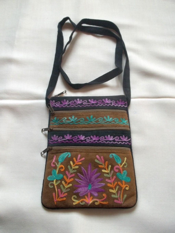 Kashmir beige embroidered suede bag online shopping