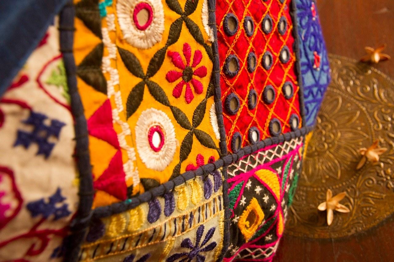 Kutch mirrorwork silk handbag blue online shopping