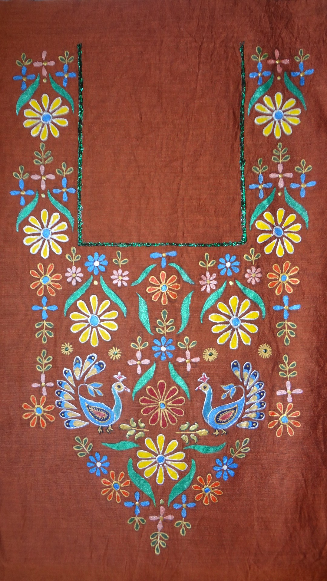 Hand Painted Brown Silk Kurta Fabric Online Shopping