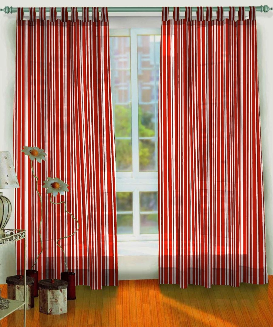 2 Pcs Set Of Hand Block Print Curtains Red Color 100