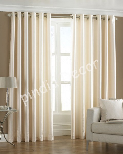 10 ft cream faux silk curtains eyelet door window curtain