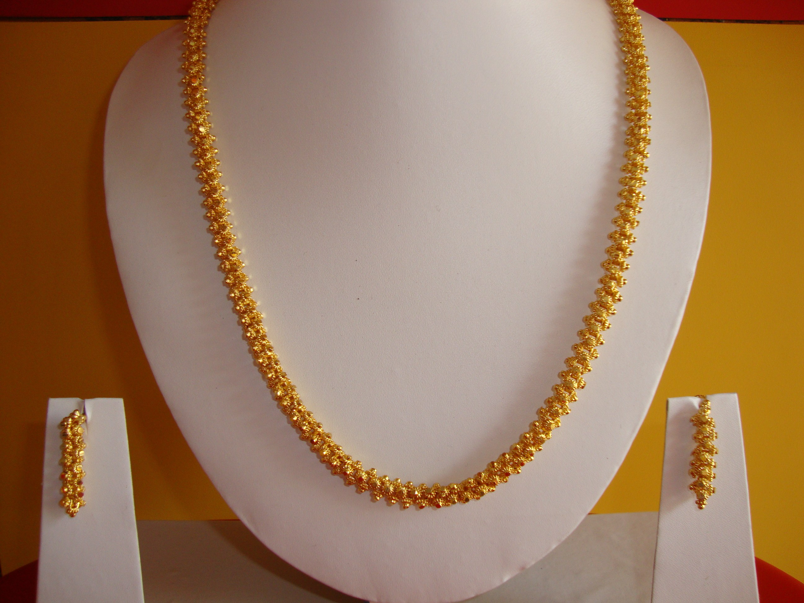 Gold Plated South Indian Style Long Necklace With Earring