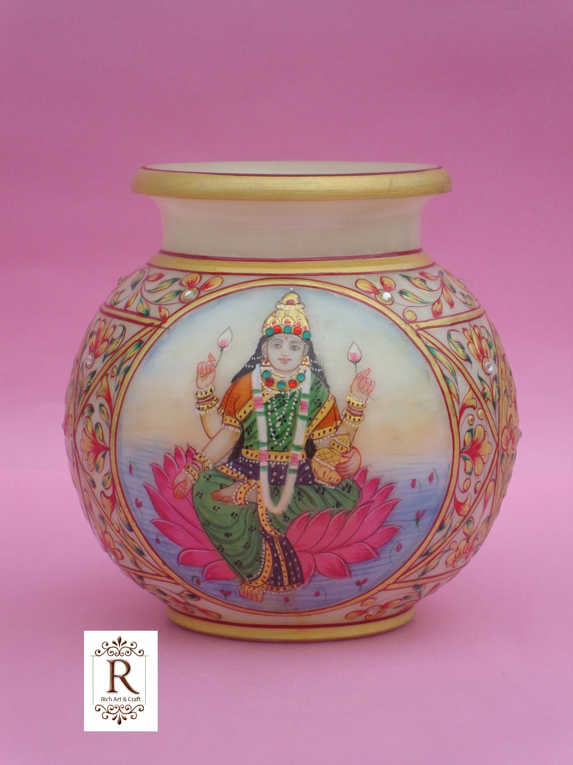 Ganesha laxmi marble pot vase painted handicraft art for Art and craft pot decoration