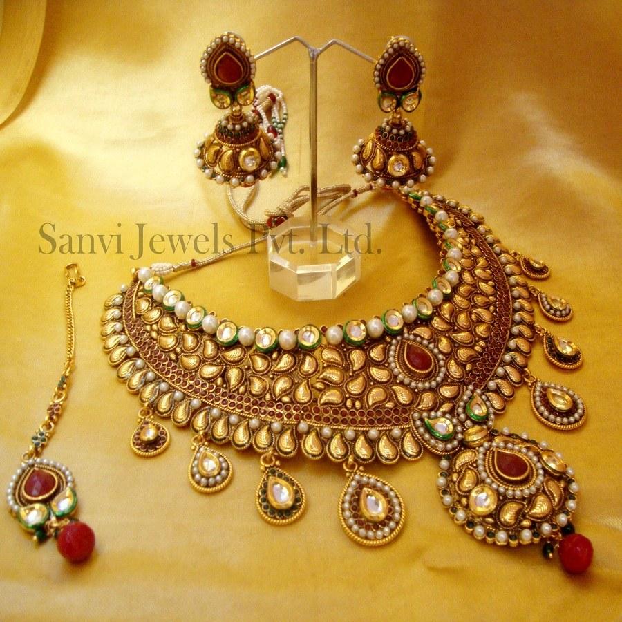 Artificial Bridal Jewellery Sets: Paisley Pattern Kundan Half Bridal Set -Online Shopping