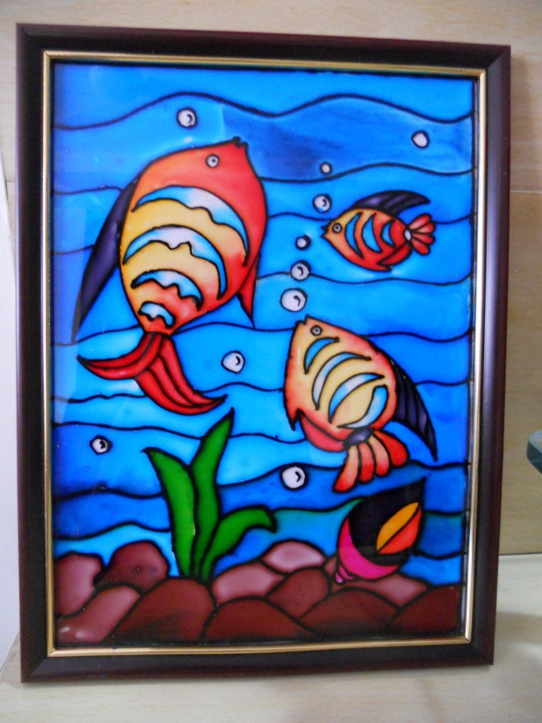 Glass painting fishes in pond online shopping for How to learn glass painting at home