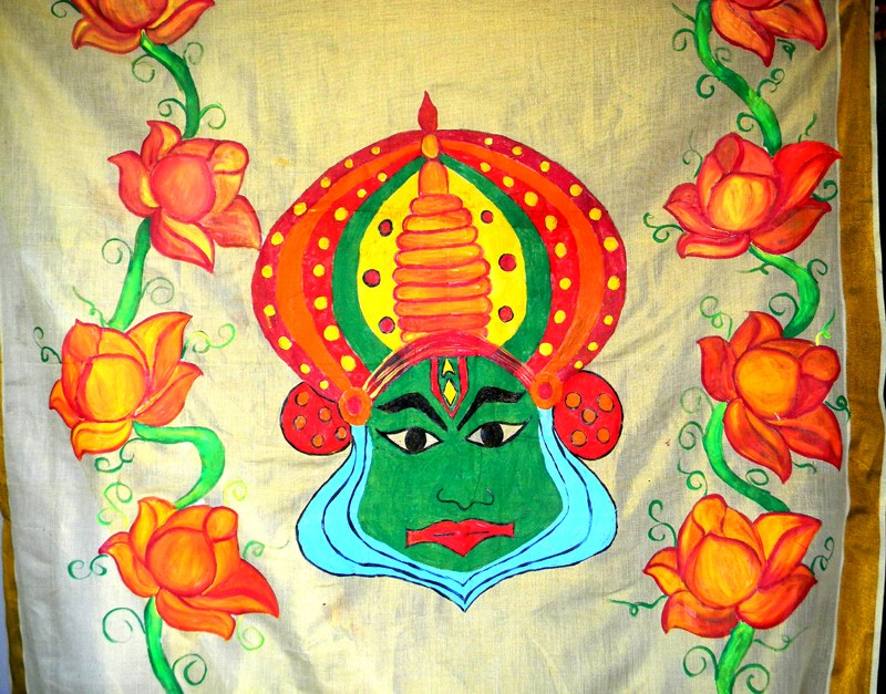 Painted kerala tissue saree online shopping for Aithihya mural painting fabrics