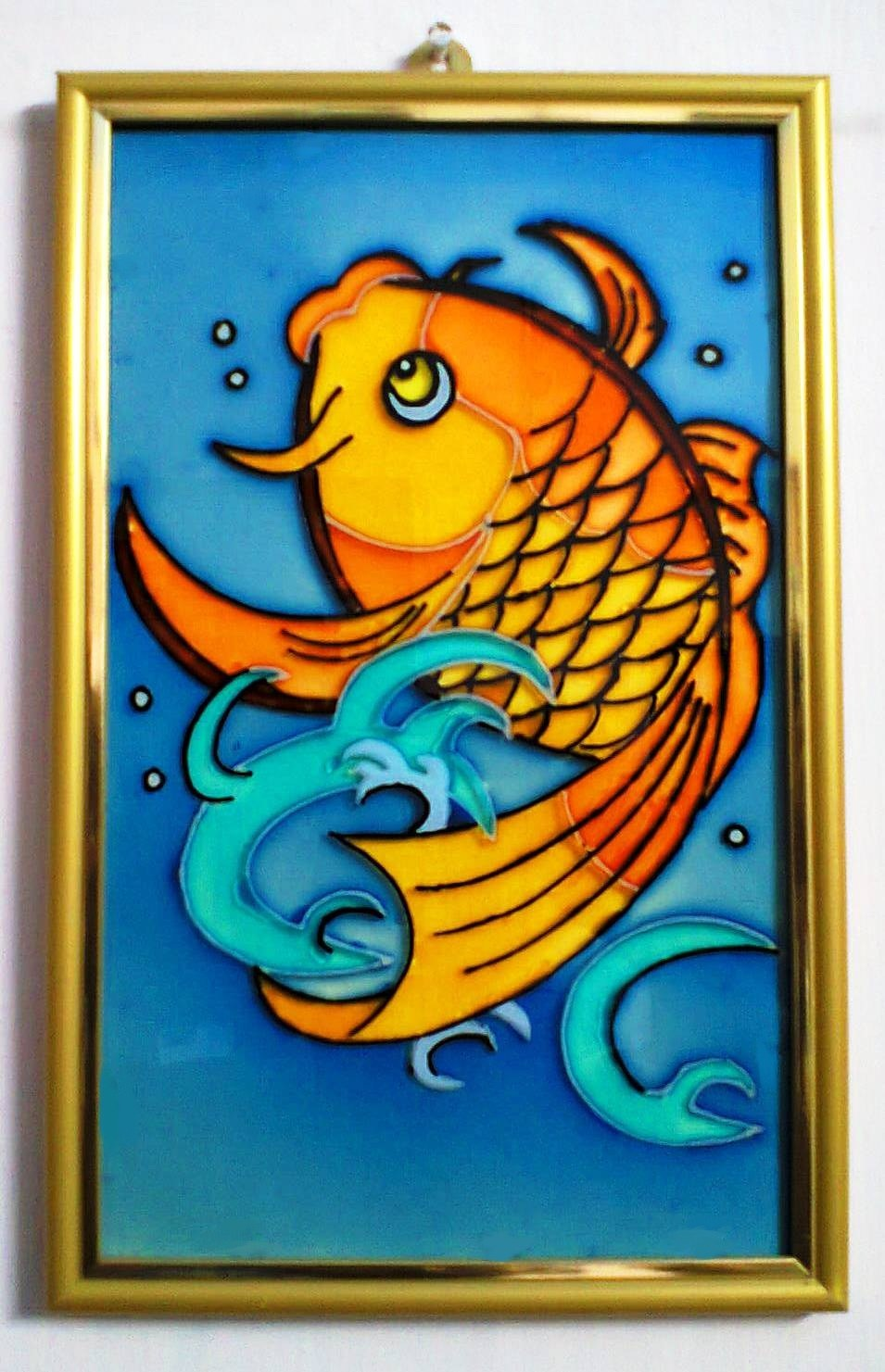 A golden fish in glass painting online shopping for Simple glass painting pictures