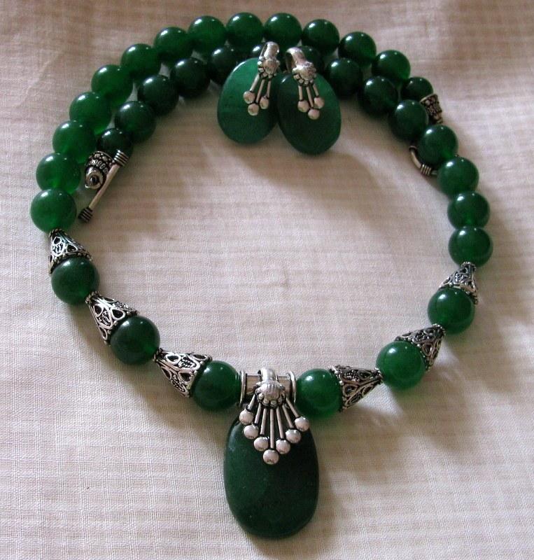 green quartz semi precious stone necklace online shopping