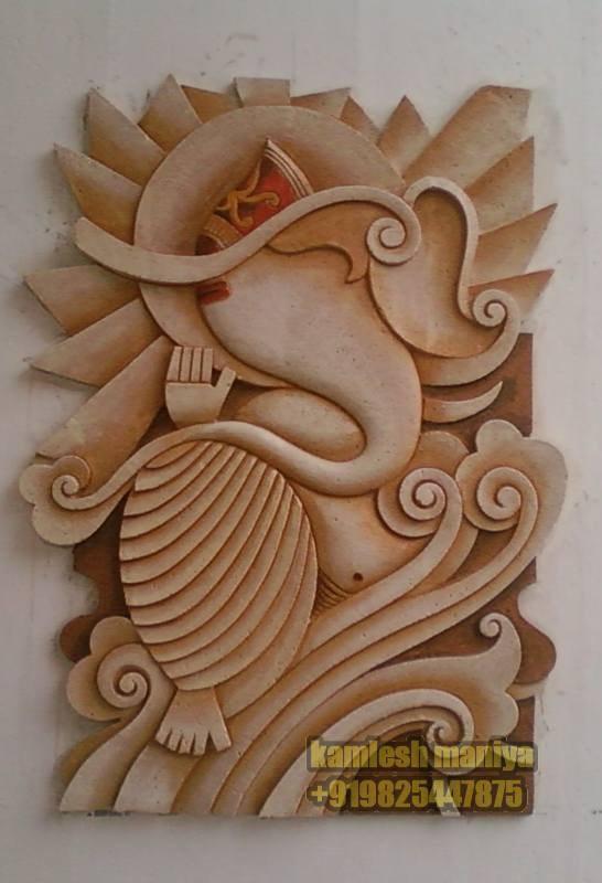 Contemporary siporex ganesh art home decor drashtikon art for 3d ceramic mural art