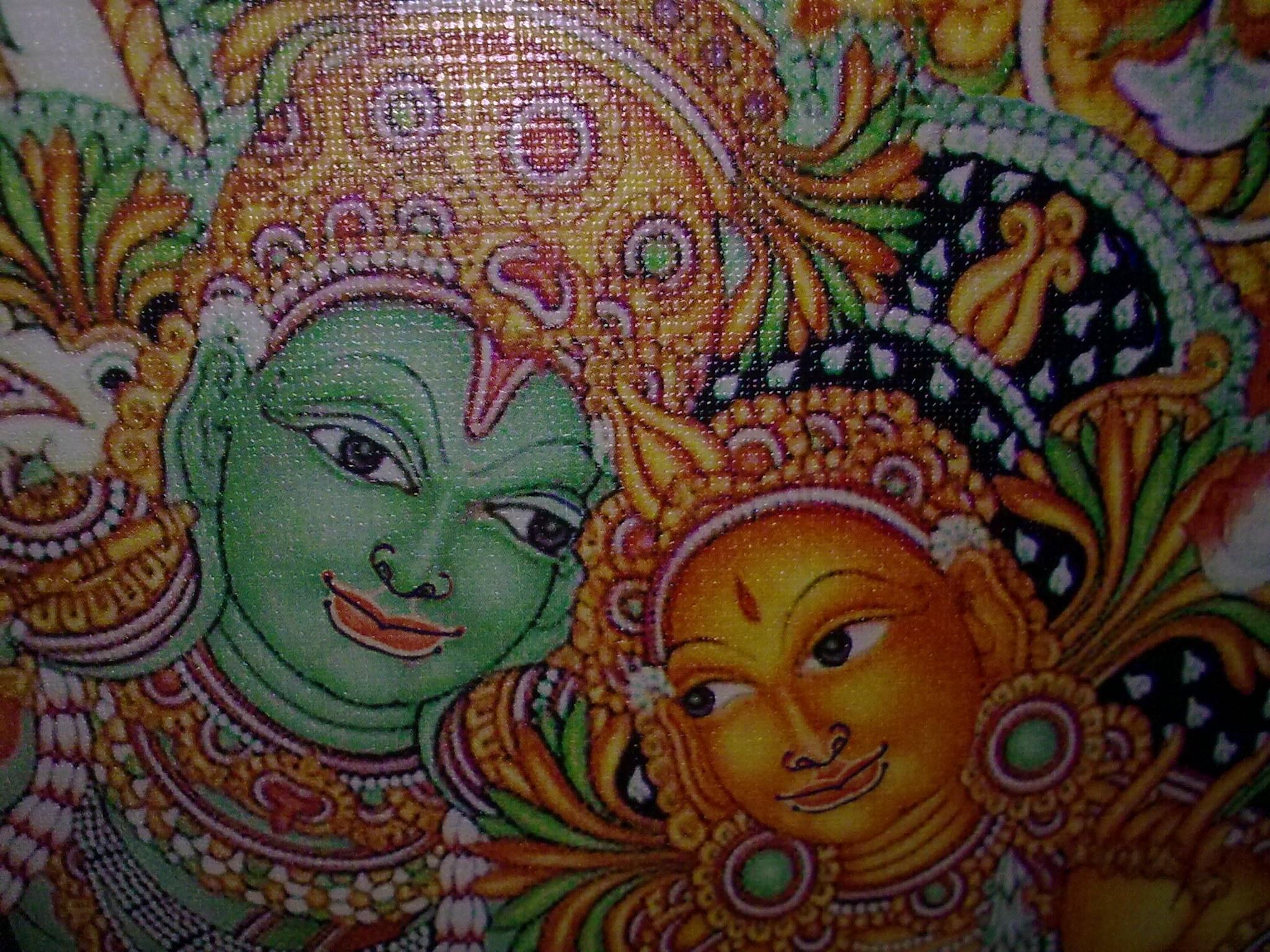 Krisha radha raas leela kerala mural painting art print for Mural radha krishna
