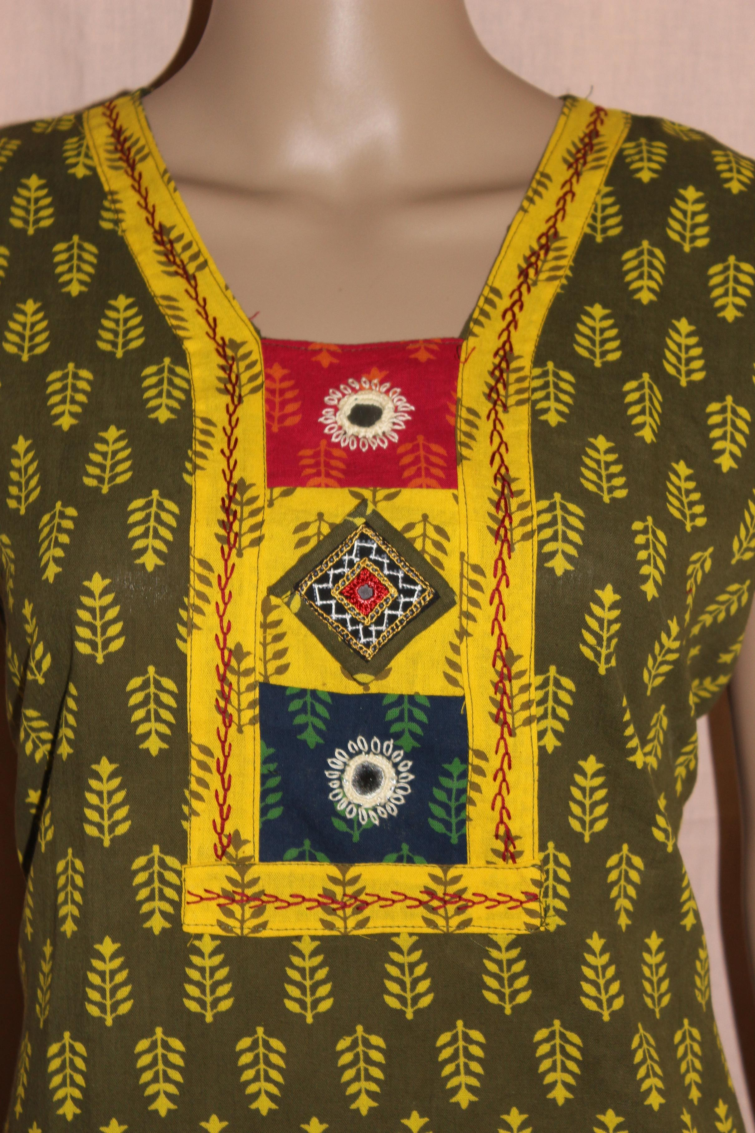 Green And Yellow Kutchi KurtiOnline Shopping