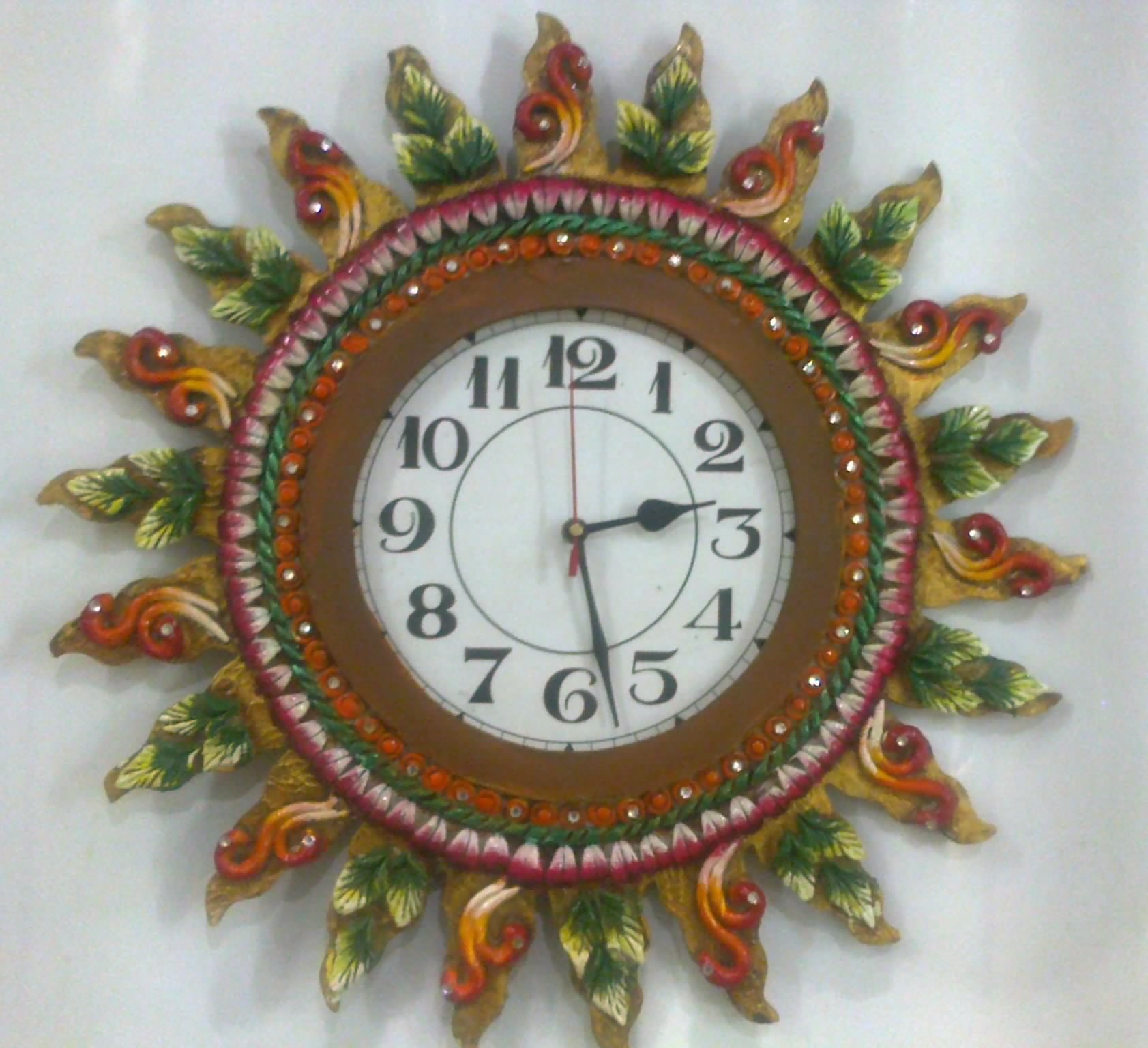 Attrative Handmade Wall Clock Home Decor Antique Design Wooden Base Gift Item Online Shopping