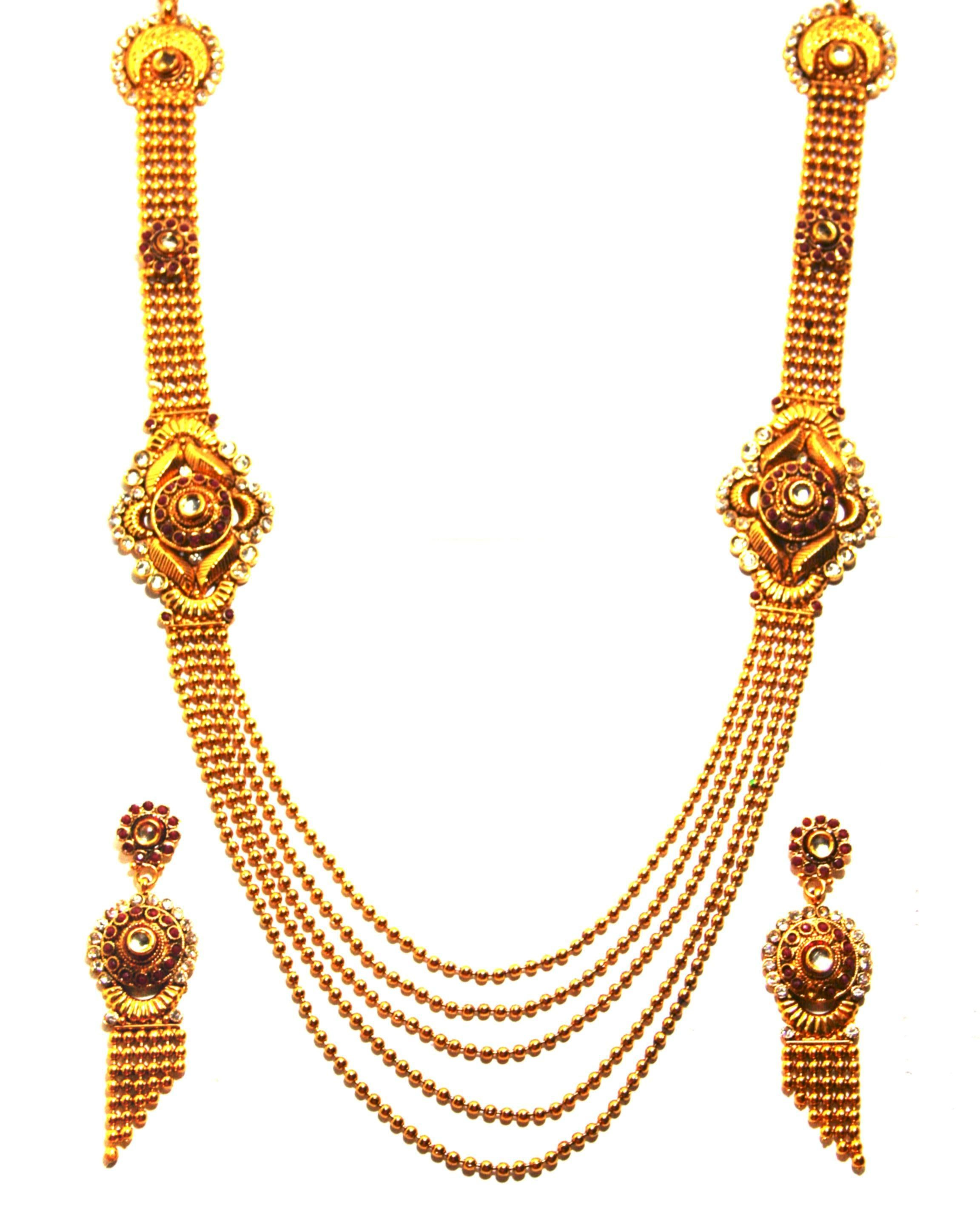 Gold Long Necklace Online 1gm Gold Platted Long Necklace