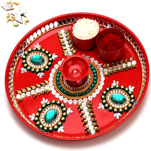 Red pooja thali with 1000 gms kaju katli online shopping for Aarti thali decoration with kundan