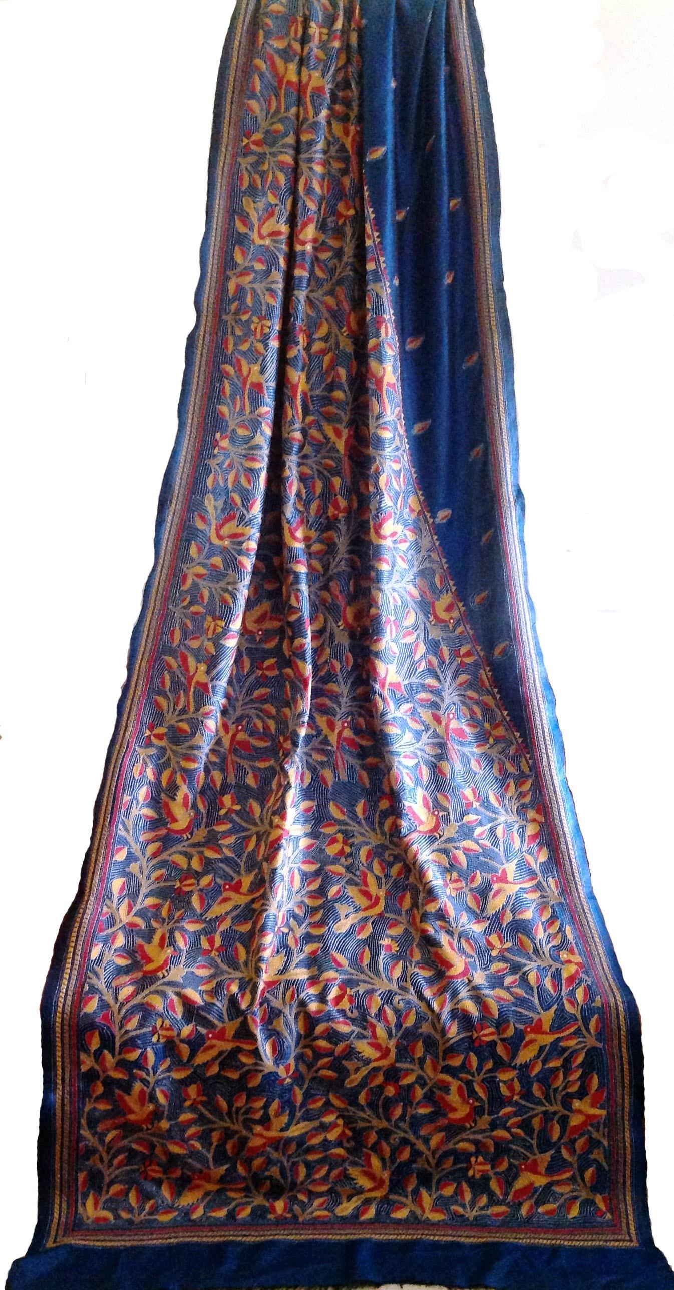 Lastest hand embroidery on saree makaroka