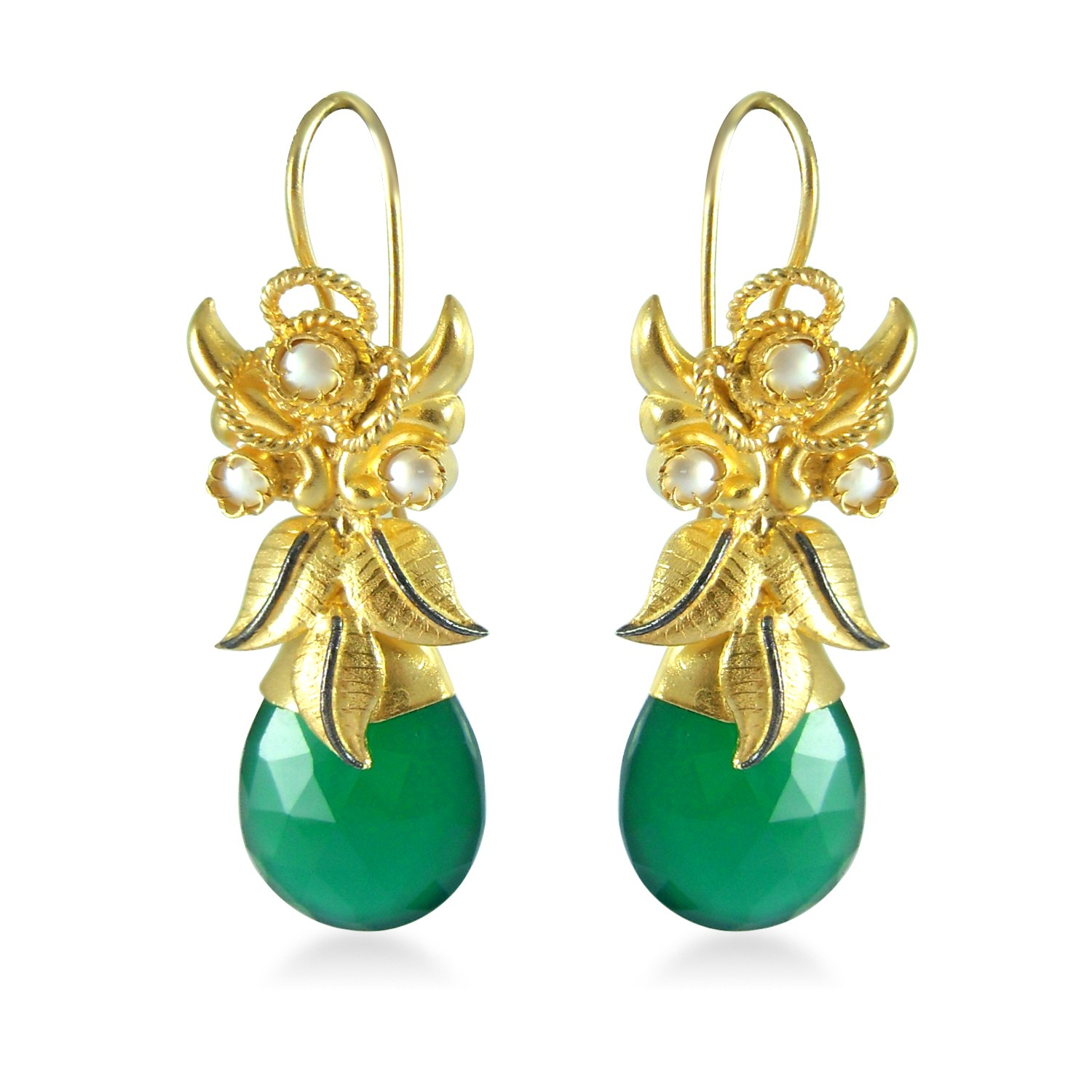 fancy 925 sterling silver gold plated earrings with green