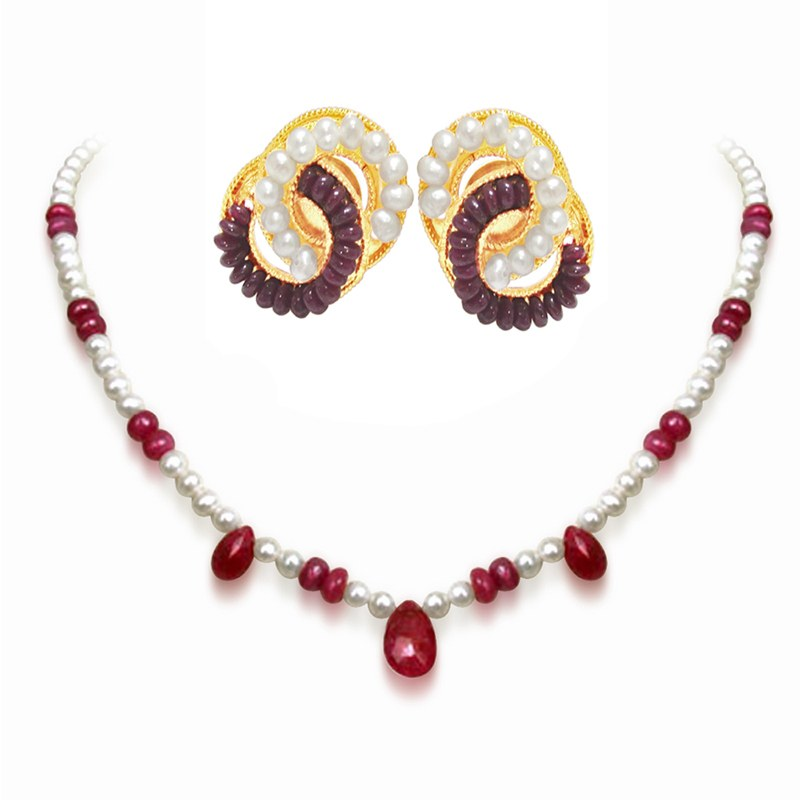 Single Line Beads: Playful Pearls, Featuring A Single Line Faceted Ruby Drops