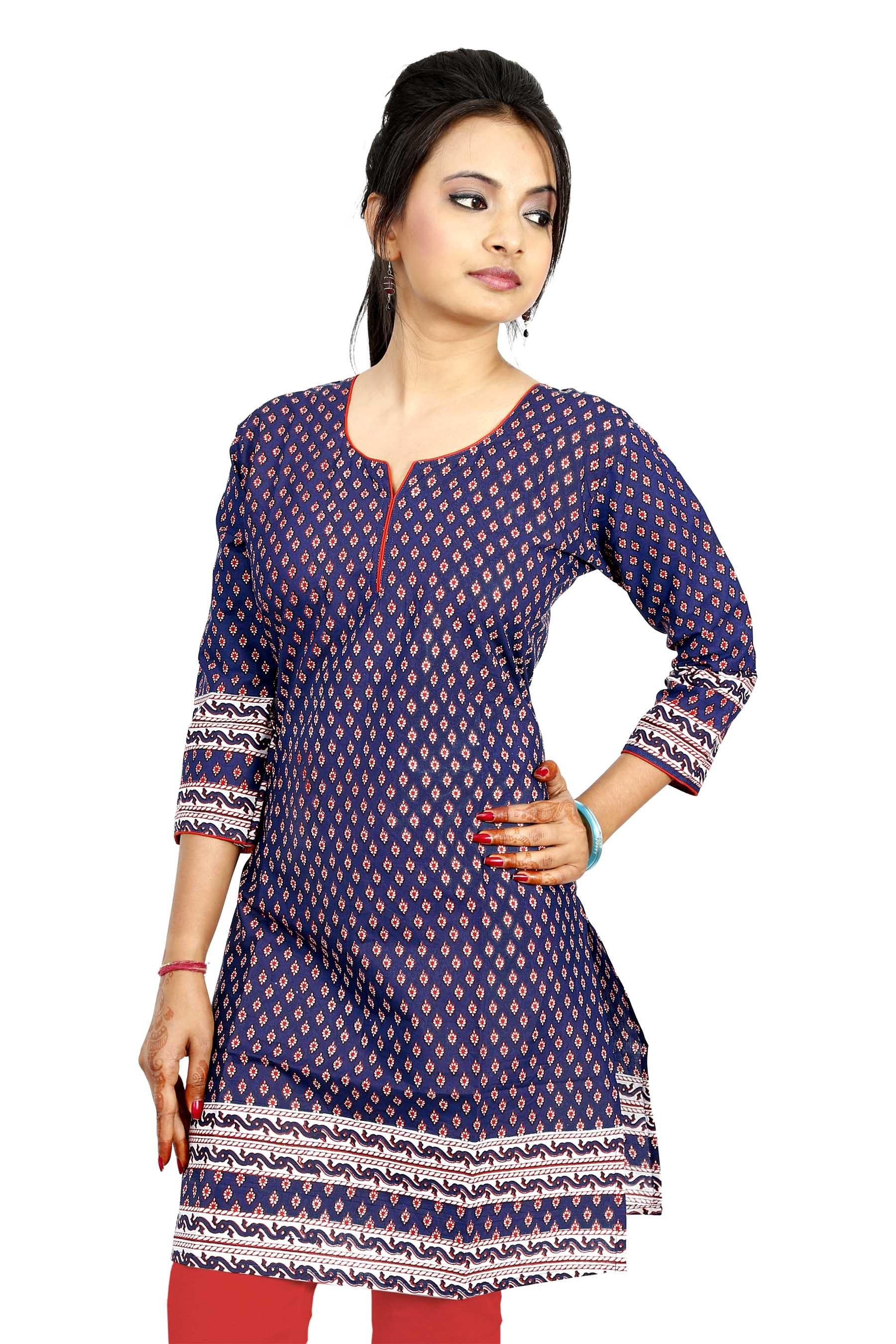 New Beautiful Cotton Ethnic Women Fashion Stylish Kurti Indian Kurta Tunic Top Kaftan-Clothing ...