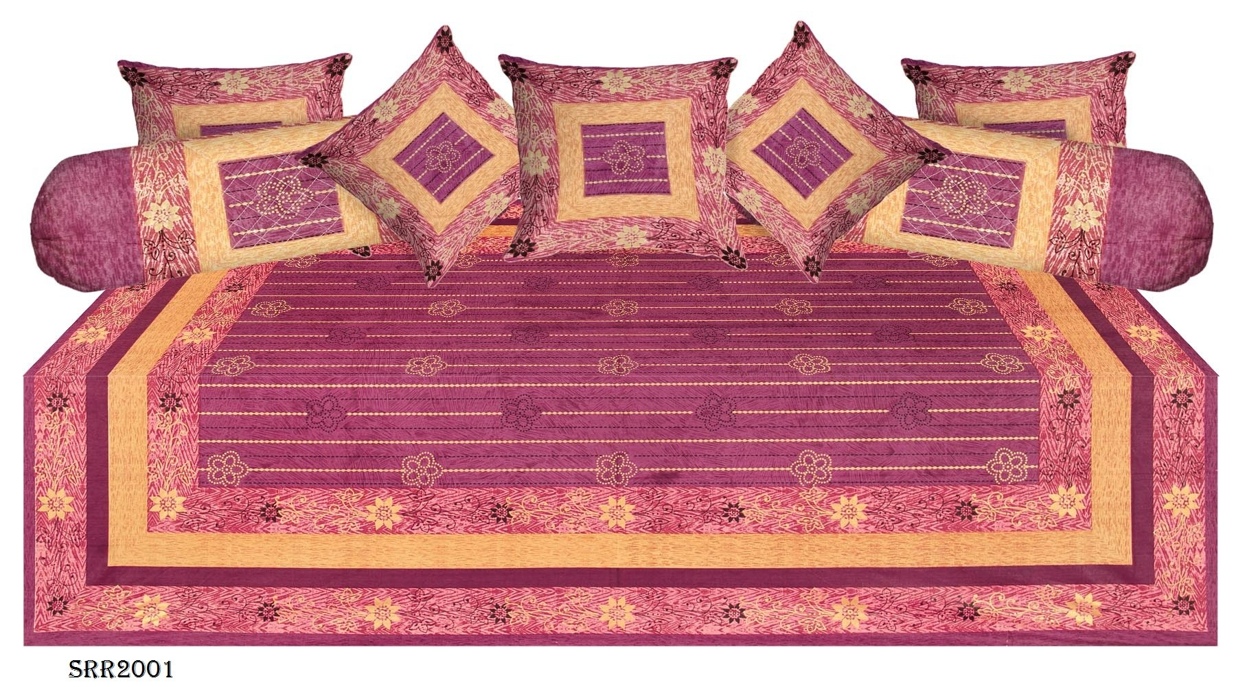 New traditional jaipuri hand block cotton diwan set divans for Diwan bed size