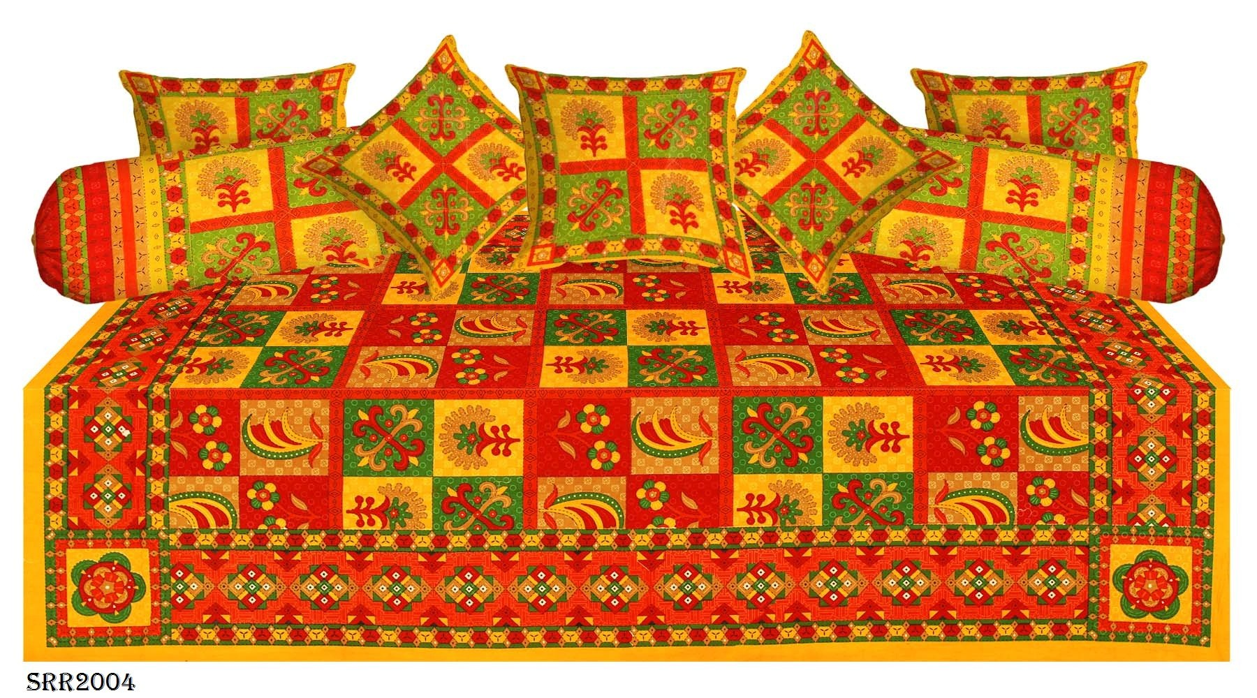 Beautiful traditional hand block printed 8 pc diwan set for Divan bed sheet