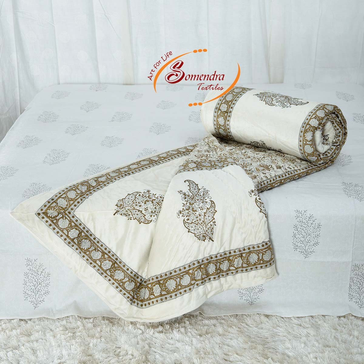 Traditional Hand Quilting Patterns : Traditional Jaipuri Hand printed Motif Pattern Velvet Quilt-Online Shopping-