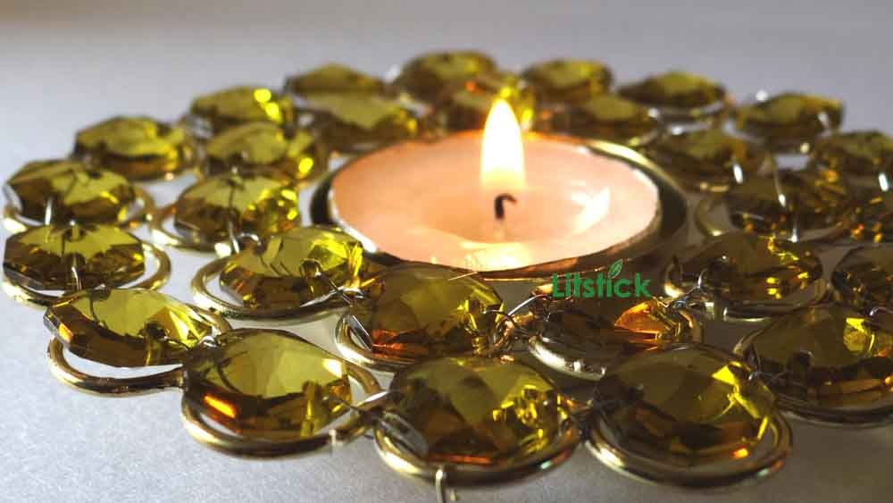 Tealight candle holder glass beaded round design free for Aroma indian cuisine coupon