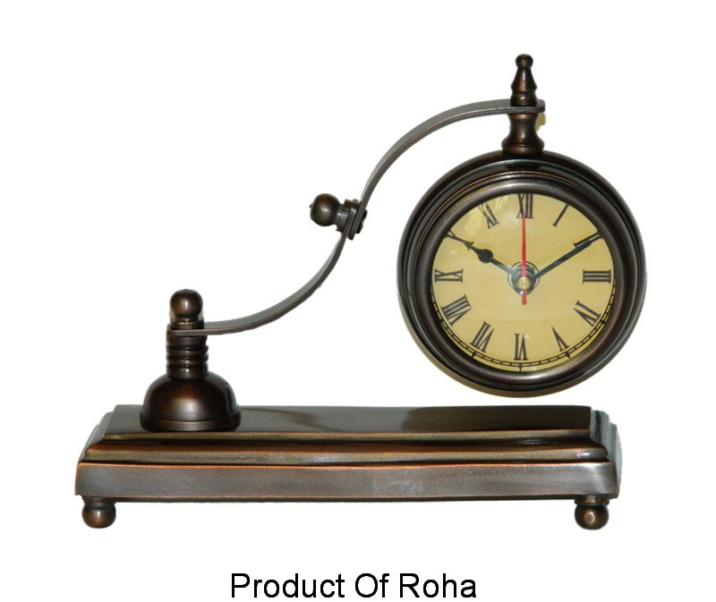 Brass Desktop Clock Antique Bronze Finish Office Home Car
