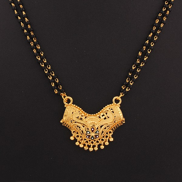 traditional gold plated black beds mangalsutra