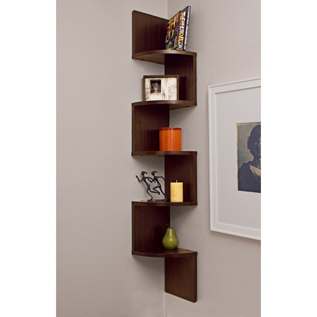 Laminated Walnut Veneer Corner Zig Zag Wall Mount Shelf