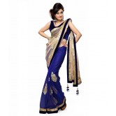 Awesome Fab Beautiful Blue Net Embroidered Party Wear Designer Saree. available at Craftsvilla for Rs.949