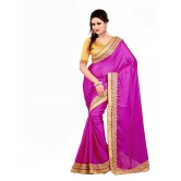Pretty purple Jacquard Embroidered Party Wear Designer Saree with blouse available at Craftsvilla for Rs.2520