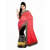 Bollywood replica Red black georgette embroidered party wear designer saree available at Craftsvilla for Rs.2435