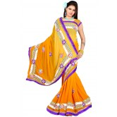 Bollywood Design Party Wear Orange Embroidered Georgette Designer Saree available at Craftsvilla for Rs.1999
