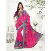 Blowing Pink Party Wear Designer Embroidered Saree available at Craftsvilla for Rs.2399