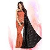 Printed Paach Embroidered Party Wear Faux Georgette Saree    for Designer Saree by Mirchi Fashion available at Craftsvilla for Rs.795