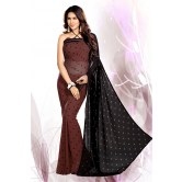 Embroidered Brown Party Wear Faux Georgette Saree    for Designer Saree by Mirchi Fashion available at Craftsvilla for Rs.795