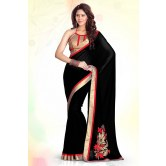 Party Wear Black Embroidered Designer Wedding Saree    for Designer Sarees by Sourbh Sarees available at Craftsvilla for Rs.999