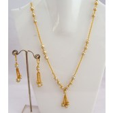 Gorgeous South India Gold Polish Faux Pearl Chain Set S25 available at Craftsvilla for Rs.1099